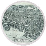 Vintage Pictorial Map Of Lynn Massachusetts - 1916 Round Beach Towel