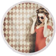 Vintage Pinup Fashion Model In Womens Sunglasses Round Beach Towel