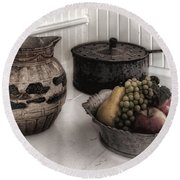 Vintage Pitcher, Pan, And Fruit Bowl Round Beach Towel