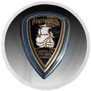 Vintage Plymouth Car Emblem Round Beach Towel