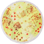 Vintage Poker Background Round Beach Towel