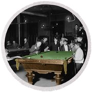 Vintage Pool Hall Round Beach Towel
