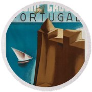 Vintage Portugal Travel Poster Round Beach Towel