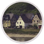 Vintage Postcard Look Of Spay Germany Round Beach Towel