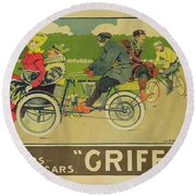 Vintage Poster Bicycle Advertisement Round Beach Towel