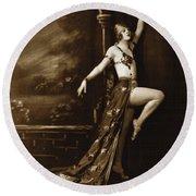Vintage Poster Posing Dancer In Costume Round Beach Towel