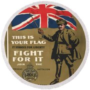 Vintage Poster - This Is Your Flag Round Beach Towel