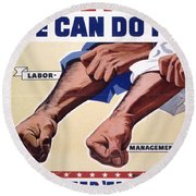 Vintage Poster - Together We Can Do It Round Beach Towel