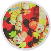 Vintage Pull String Puppets Round Beach Towel