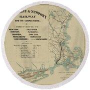 Vintage Railway Map 1865 Round Beach Towel