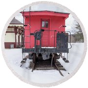 Vintage Red Caboose In The Snow Round Beach Towel