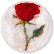 Vintage Red Rose  Round Beach Towel