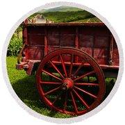 Vintage Red Wagon 2 Round Beach Towel