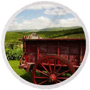 Vintage Red Wagon Round Beach Towel