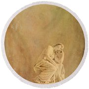 Vintage Reflecting Woman 1 - Artistic Round Beach Towel