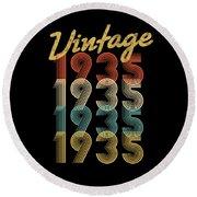 Vintage Retro Since 1935 Birthday Gift Round Beach Towel