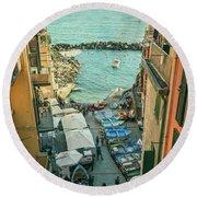 Vintage Riomaggiore Cinque Terre Italy Round Beach Towel