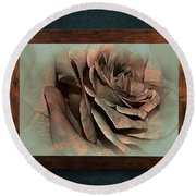 Vintage Rose On Old Wall 2 By Kaye Menner Round Beach Towel
