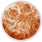 Vintage Rose Petals Abstract  Round Beach Towel