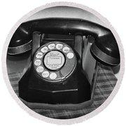 Vintage Rotary Phone Black And White Round Beach Towel