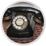 Vintage Rotary Phone Round Beach Towel