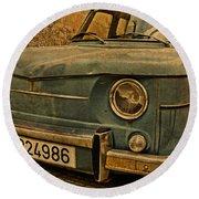 Vintage Rusty Renault Truck Round Beach Towel
