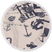 Vintage Sailing Art Round Beach Towel