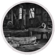 Vintage Sawmill In Black And White Round Beach Towel