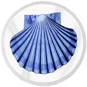 Vintage Scallop Shell Blue Round Beach Towel