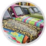 Vintage Small Cars Round Beach Towel