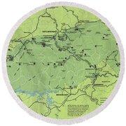 Vintage Smoky Mountains National Park Map Round Beach Towel