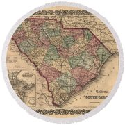 Vintage South Carolina Map Round Beach Towel