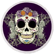 Vintage Sugar Skull And Flowers Round Beach Towel