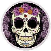 Vintage Sugar Skull And Roses Round Beach Towel