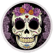 Vintage Sugar Skull And Roses Round Beach Towel by Tammy Wetzel