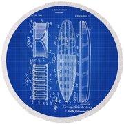 Vintage Surf Board Patent Blue Print 1950 Round Beach Towel