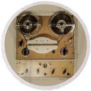 Vintage Tape Sound Recorder Reel To Reel Round Beach Towel