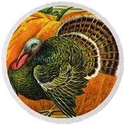 Vintage Thanksgiving Card Round Beach Towel