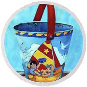 Vintage Tin Sand Bucket Round Beach Towel