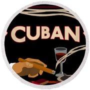 Vintage Tobacco Cuban Cigars Round Beach Towel