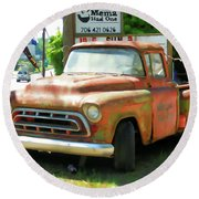Vintage Tow Truck Round Beach Towel