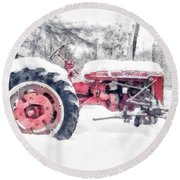 Vintage Tractor Christmas Round Beach Towel