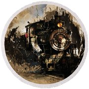 Vintage Train 06 Round Beach Towel