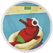 Vintage Travel Poster Italy Round Beach Towel