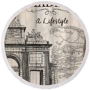 Vintage Travel Poster Madrid Round Beach Towel
