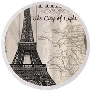 Vintage Travel Poster Paris Round Beach Towel