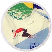 Vintage Travel Skiing Round Beach Towel