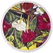 Vintage Tropical Flowers Round Beach Towel