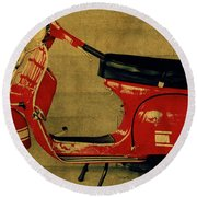 Vintage Vespa Scooter Red Round Beach Towel