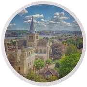 Vintage View Of The Cathedral Round Beach Towel
